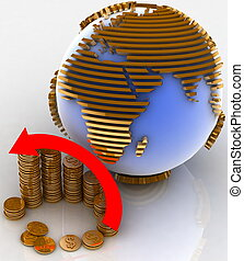 3d diagram of golden coins with a arrow on a background a globe