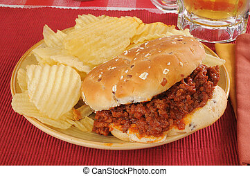 Sloppy Joe hamburger with chips - A sloppy joe hamburger...
