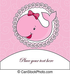 A beautiful card with a pink whale