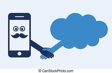 Cloud computing concept. Mobile phone makes contact with a cloud server. Hand shake