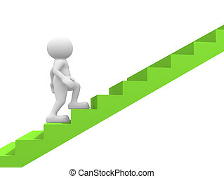 Stair - 3d people - man, person and a staircase - stair