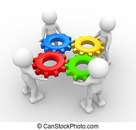 Gear mechanism - 3d people - man, person with gear mechanism...