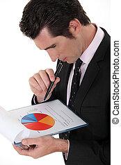 Man examining pie-chart