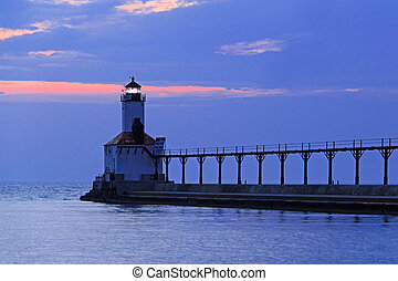 Michigan City Sundown - Sundown at the East Pierhead Light...