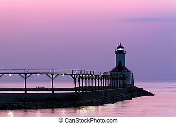 Michigan City Light at Twilight - The East Pierhead Light,...