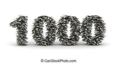 Dollars letter number 1000 money stacks with thousend...