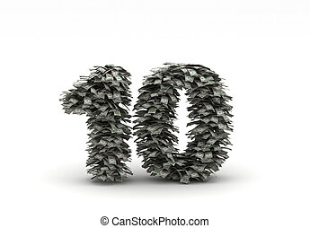 Dollars letter number 10 money stacks with thousend dollars...