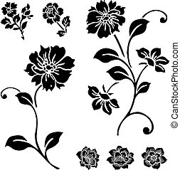 Vector Rose and Flower Set