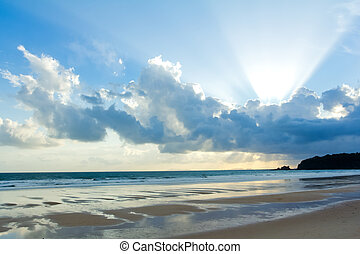 Tropical beach Sunset Sky With Lighted Clouds