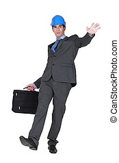 construction businessman slipping and falling