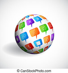 Sphere with social speech bubbles