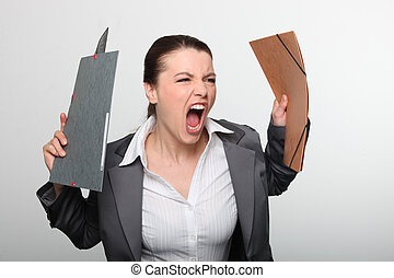 Angry woman screaming