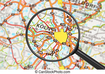 Destination - Cologne with magnifying glass - Tourist...