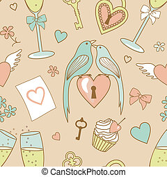 wedding pattern - seamless vector wedding pattern with birds...