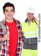Young man with a construction worker