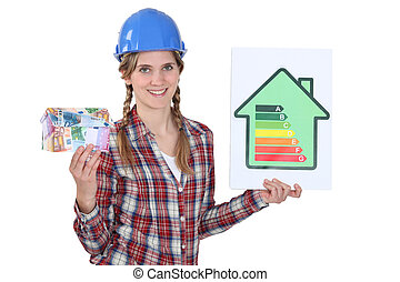 Woman with sign of energy consumption and bank notes