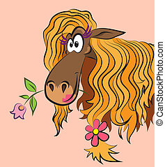 funny horse with a flower