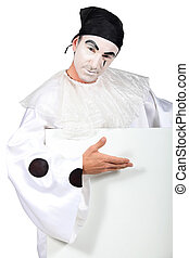 Pierrot with a board left blank for your message