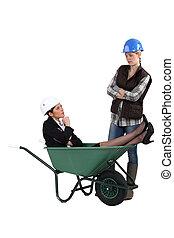 infeliz, tradeswoman, loco, descubrimiento, ingeniero, ella,...