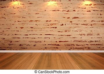 empty room brick wall