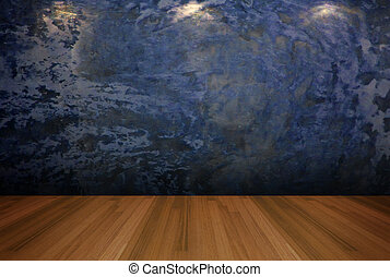 empty room blue cement wall - Interior rendering with empty...