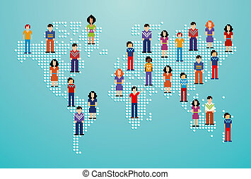 Global social media people network over World map. Vector...