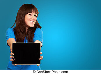 Woman Holding Ipad Isolated On Blue Background