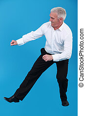 Elderly man dancing