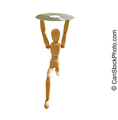 wood mannequin with CD-rom on white background