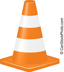 Orange traffic cone isolated on white background