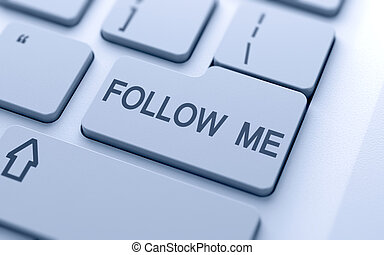 Follow me button on keyboard with soft focus