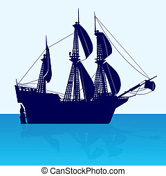 Frigate - Contour image of an old sailing ship The...