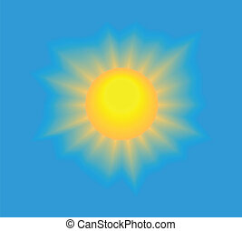 Shining sun on blue sky - Sun shining with realistic rays on...
