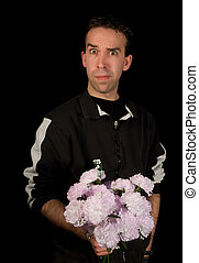 Man Holding Flowers Isolated on Black
