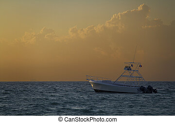 boat in the morning - scuba diving boat bathed by the...