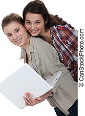 Young women with a laptop