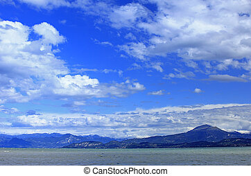Lake Garda, Italy - View across Lake Garda in stormy...