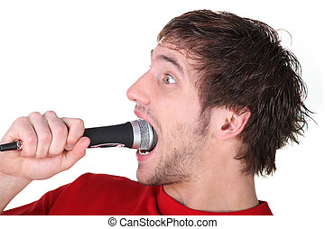 Man swallowing a microphone