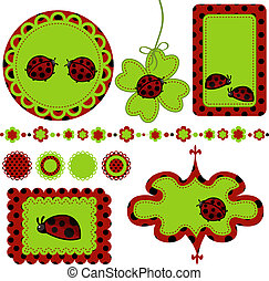 Digital vector scrapbook with ladybug