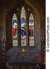 Church Alter and Window - Church Alter and Stained Glass...