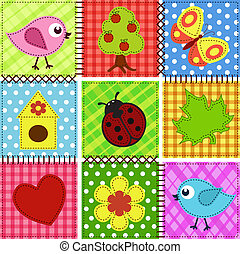 Baby seamless background - Patchwork with birds and...
