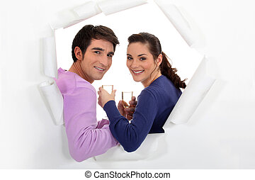 Young couple with glasses of champagne