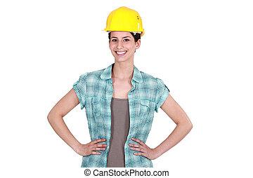 Confident female builder