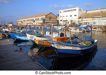 Travel Photos of Israel - Jaffa - Colorful fishermans boats...