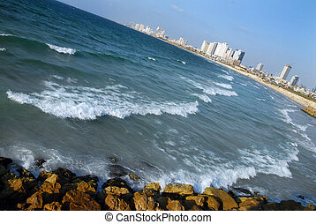 Travel Photos of Israel - Jaffa - Tel Aviv skyscrapers. The...