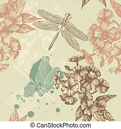 Seamless floral background with flying dragonflies,...