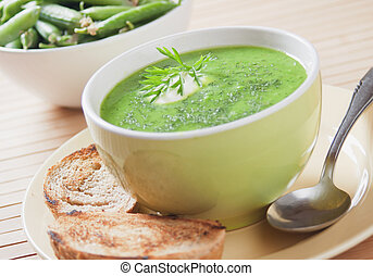 Green pea soup - Thick green pea vegetable soup, selective...
