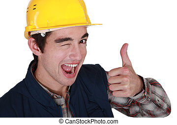 Tradesman winking and giving the thumb's up