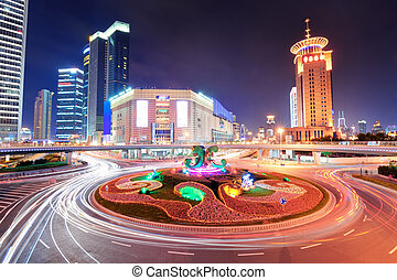 Shanghai street night - Shanghai street view at night with...