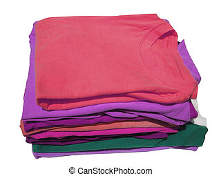 colorful knits - pile of colorful tshirts freshly folded...